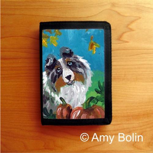 """Autumn"" Blue Merle Shetland Sheepdog Trifold Wallet"
