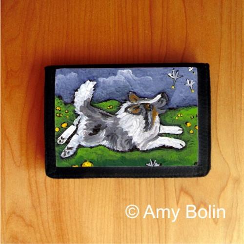 """Spring's Simple Pleasures"" Blue Merle Shetland Sheepdog Trifold Wallet"