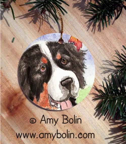 """Autumn Berner"" Bernese Mountain Dog Ceramic Ornament Round"