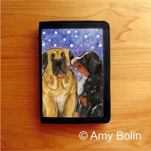 """Little Kiss"" Bernese Mountain Dog & Mastiff Tri Fold Wallet"