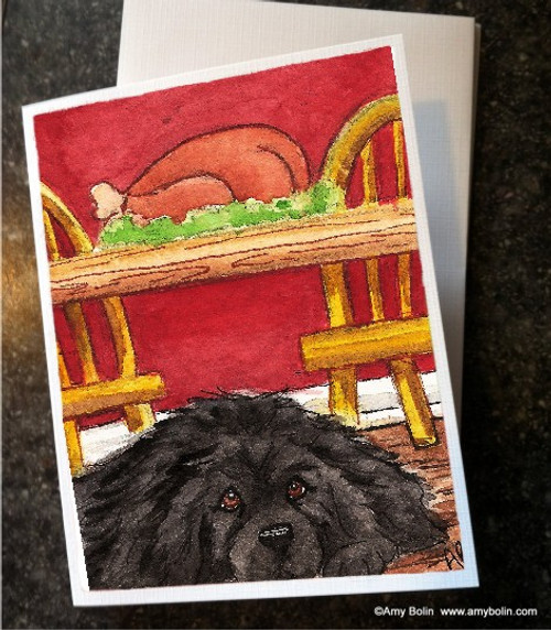 """""""Thanksgiving: So Hard To Be Good"""" Black Newfoundland Note Cards"""