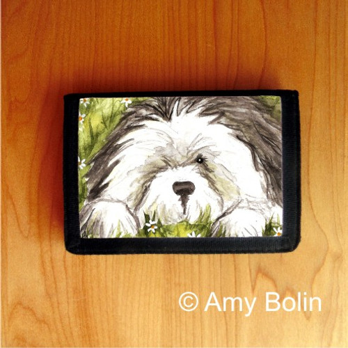 """""""Sheepie In The Daisies"""" Old English Sheepdog Trifold Wallet"""