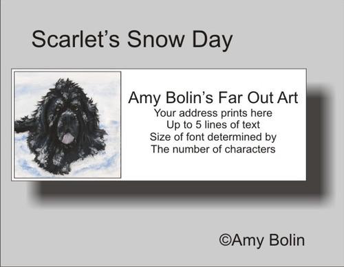 """Scarlet's Snow Day"" Black Newfoundland Address Labels"