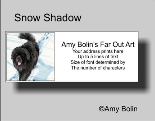 """Snow Shadow"" Black Newfoundland Address Labels"