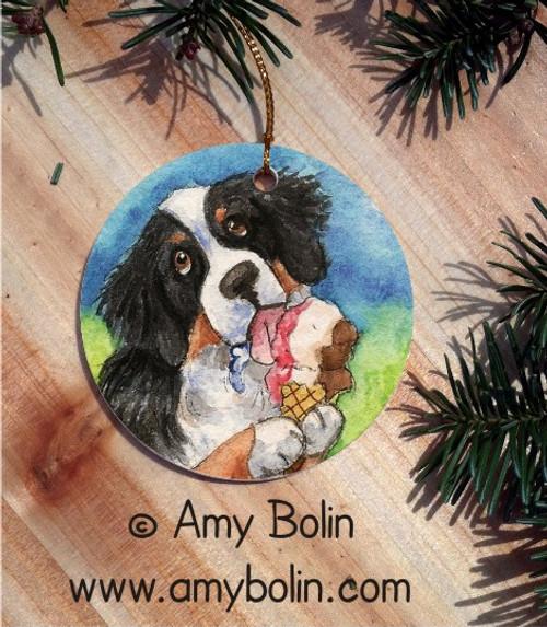"""Make Mine Neapolitan"" Bernese Mountain Dog Ceramic Ornament Round"
