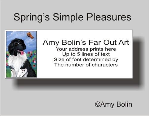 """""""Spring's Simple Pleasures"""" Landseer Newfoundland Address Labels"""