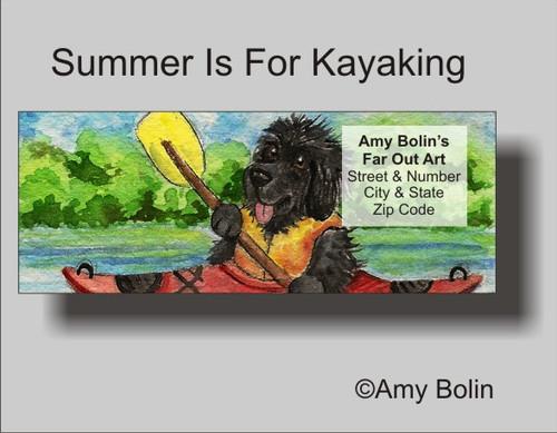 """""""Summer Is For Kayaking"""" Black Newfoundland Address Labels"""