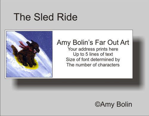 """The Sled Ride"" Brown Newfoundland Address Labels"