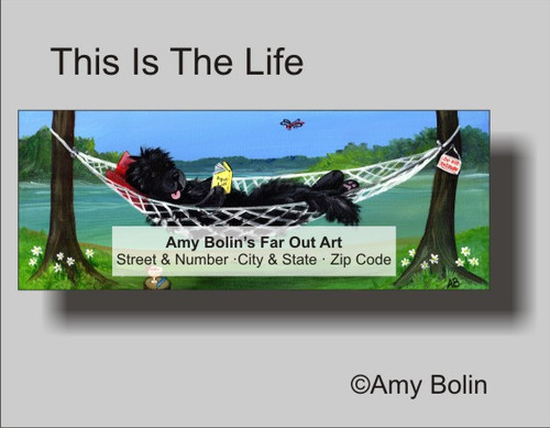 """This Is The Life"" Black Newfoundland Address Labels"