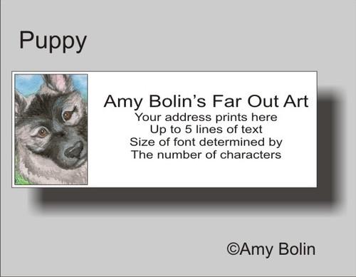 """""""Puppy"""" Norwegian Elkhound Address Labels"""