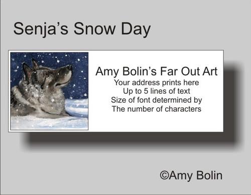 """Senja's Snow Day"" Norwegian Elkhound Address Labels"