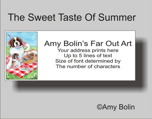 """The Sweet Taste Of Summer"" Saint Bernard Address Labels"