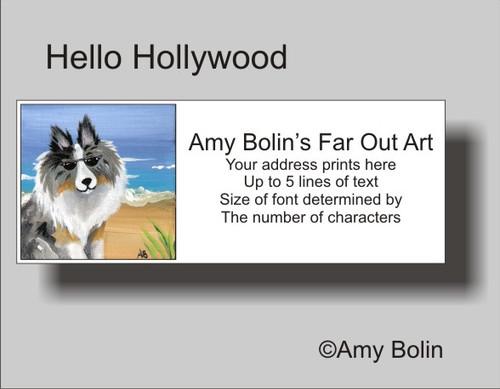 """Hello Hollywood"" Blue Merle Shetland Sheepdog Address Labels"