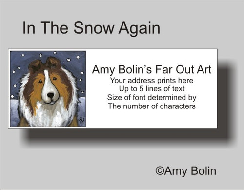"""In The Snow Again"" Sable Shetland Sheepdog Address Labels"