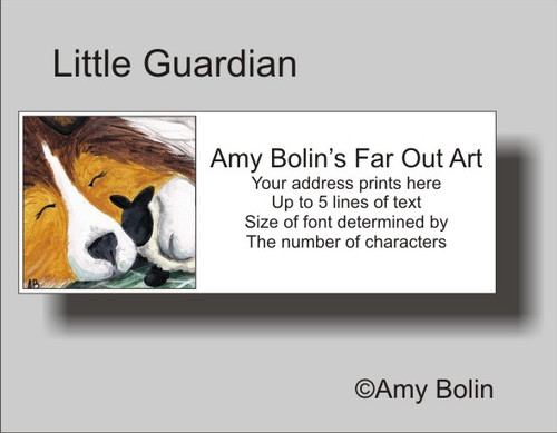 """Little Guardian"" Sable Shetland Sheepdog Address Labels"