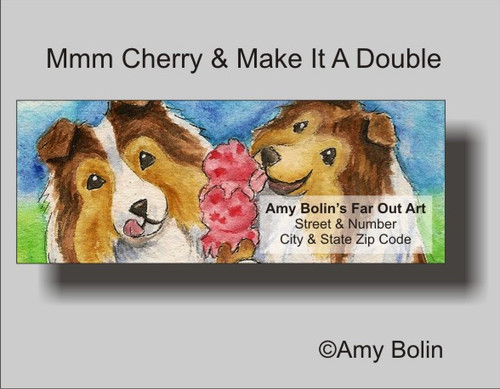 """Make Mine Cherry"" Sable Shetland Sheepdog Address Labels"