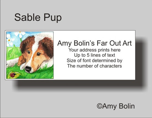 """Sable Pup"" Sable Shetland Sheepdog Address Labels"
