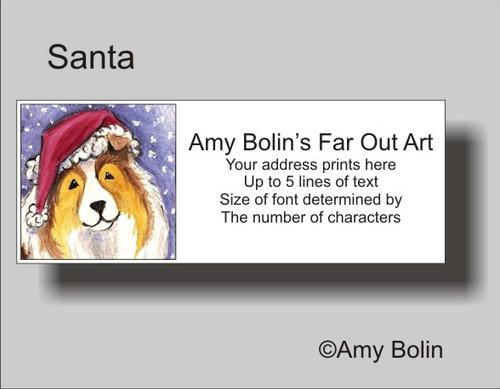 """""""Christmas: Santa"""" Sable Shetland Sheepdog Address Labels"""