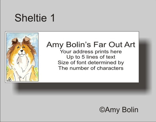 """Sheltie 1"" Sable Shetland Sheepdog Address Labels"