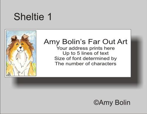 """""""Sheltie 1"""" Sable Shetland Sheepdog Address Labels"""