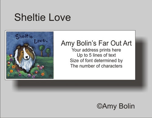 """Sheltie Love"" Sable Shetland Sheepdog Address Labels"