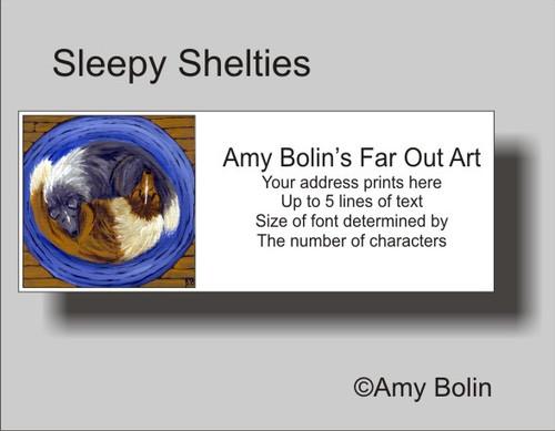 """Sleepy Sheltie"" Bi Blue, Sable Shetland Sheepdog Address Labels"