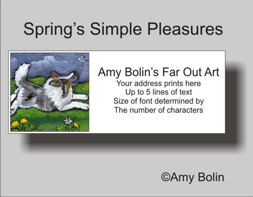 """Spring's Simple Pleasures"" Blue Merle Shetland Sheepdog Address Labels"
