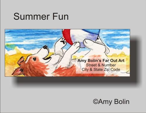 """Summer Fun"" Sable Shetland Sheepdog Address Labels"