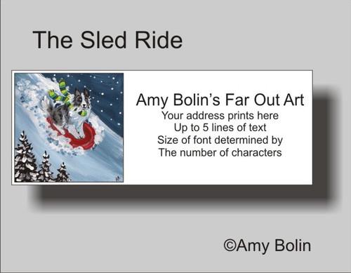 """The Sled Ride"" Bi Blue Shetland Sheepdog Address Labels"