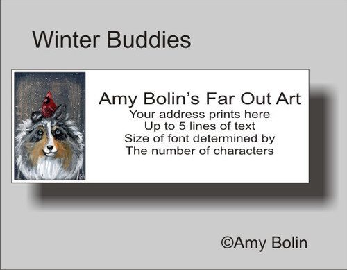 """Winter Buddies"" Blue Merle Shetland Sheepdog Address Labels"