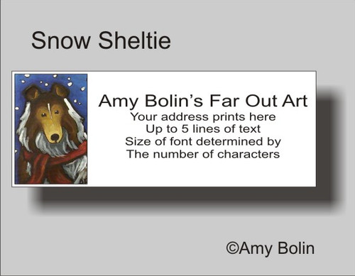 """Snow Sheltie"" Sable Shetland Sheepdog Address Labels"