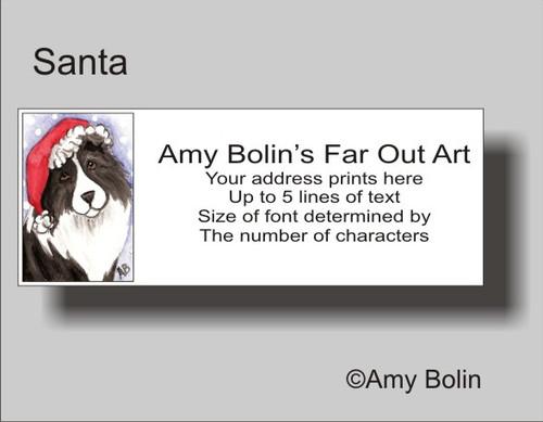 """Christmas: Santa"" Bi Black Shetland Sheepdog Address Labels"