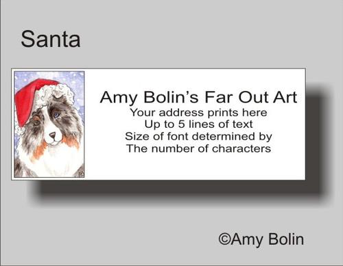 """""""Christmas: Santa"""" Blue Merle Shetland Sheepdog Address Labels"""