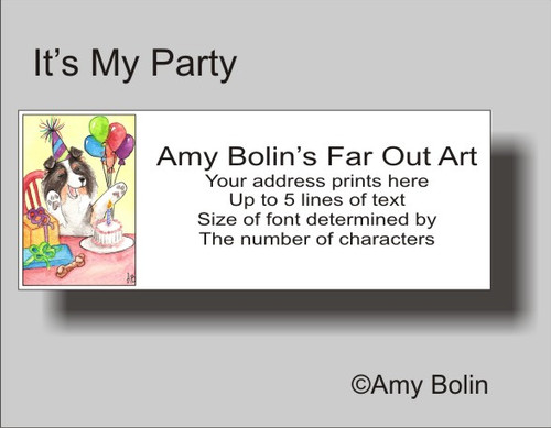 """Birthday: It's My Party"" Tri Color Shetland Sheepdog Address Labels"