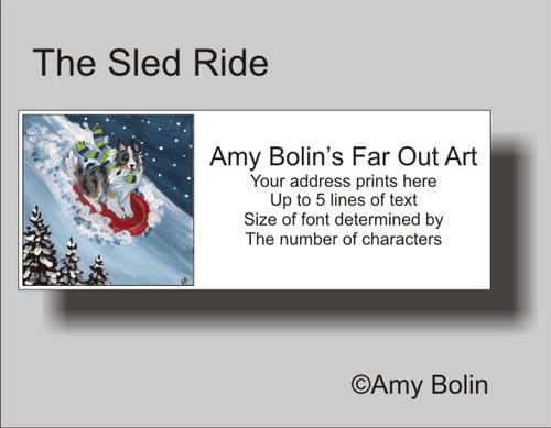 """The Sled Ride"" Blue Merle Shetland Sheepdog Address Labels"