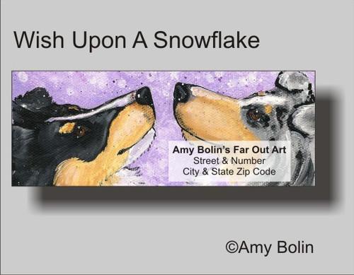 """Wish Upon A Snowflake"" Blue Merle, Tri Color Shetland Sheepdog Address Labels"