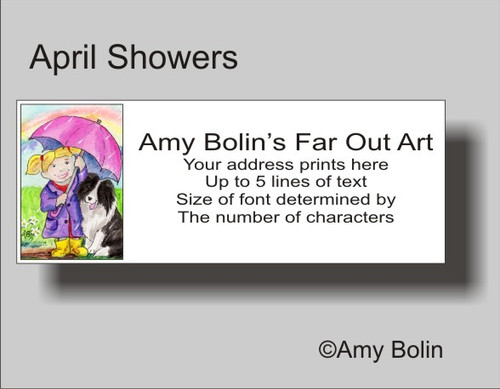 """April's Showers"" Bi Black Shetland Sheepdog Address Labels"
