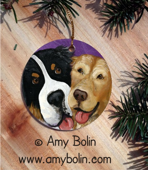 """Be Mine"" Bernese Mountain Dog & Godlen Retriever Ceramic Ornament Round"
