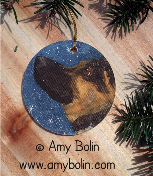 CERAMIC ORNAMENT · WISH UPON A SNOWFLAKE  · GERMAN SHEPHERD · AMY BOLIN