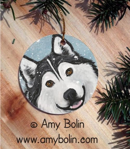 """That Mal Smile"" Alaskan Malamute Ceramic Ornament Round"