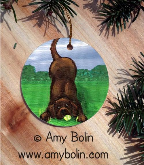 """""""Happy Lab"""" Chocolate Labrador Retriever Ceramic Ornament Round"""