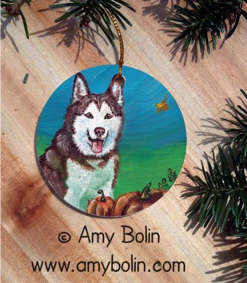 """Autumn's Simple Pleasures"" Siberian Husky Ceramic Ornament Round"