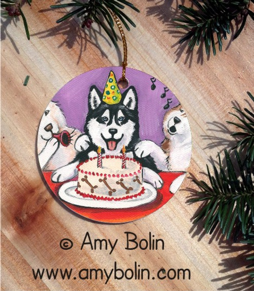 """""""Birthday: Happy Birthday To You"""" Siberian Husky (blue eye) Ceramic Ornament Round"""