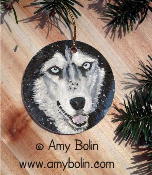 """""""Riva's Snow Day"""" Siberian Husky Ceramic Ornament"""