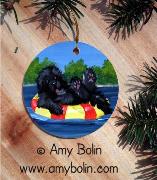 """""""Dog Days"""" Black Newfoundland Ceramic Ornament Round"""
