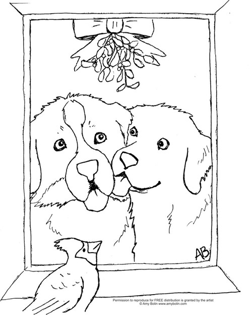 "FREE COLORING SHEET DOWNLOAD · ""Under The Mistletoe"" · BERNESE MOUNTAIN DOG & GOLDEN RETRIEVER · AMY BOLIN"