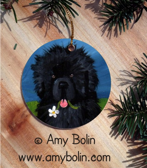 """A Flower For Mom"" Black Newfoundland Ceramic Ornament Round"