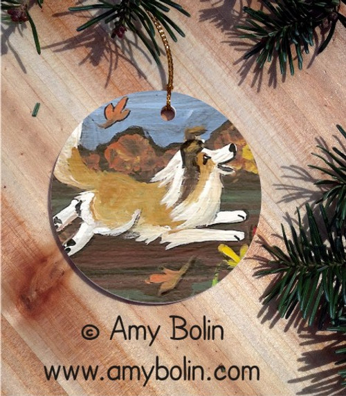 """A Perfect Fall Day"" Sable Shetland Sheepdog Ceramic Ornament Round"
