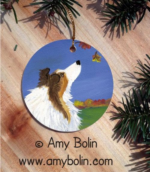 """Autumn's Simple Pleasures 2"" Sable Shetland Sheepdog Ceramic Ornament Round"
