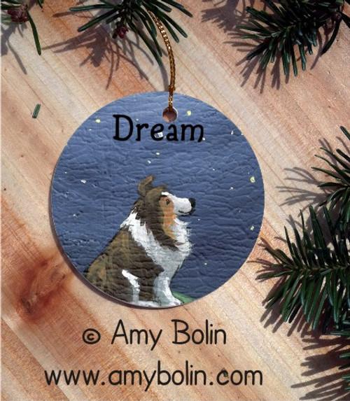 CERAMIC ORNAMENT · DREAM · SABLE SHELTIE · AMY BOLIN